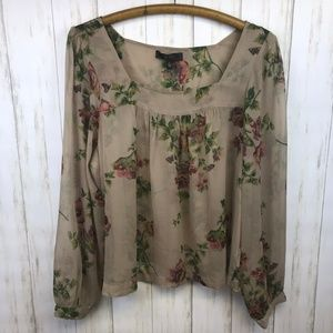 Jessica Simpson | Sheer Floral Popover Top  | L